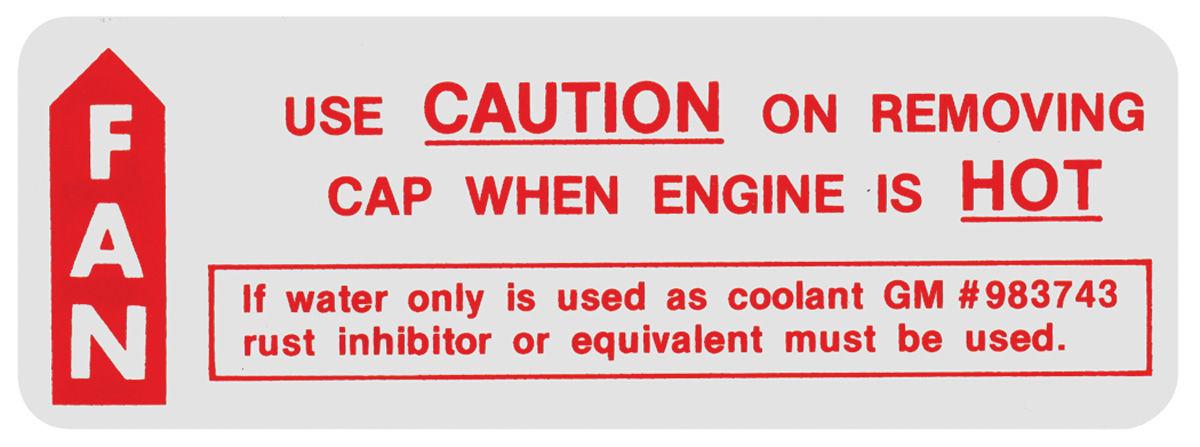 Decal, 64 Bonneville/Catalina, 64-65 GTO, Caution Fan