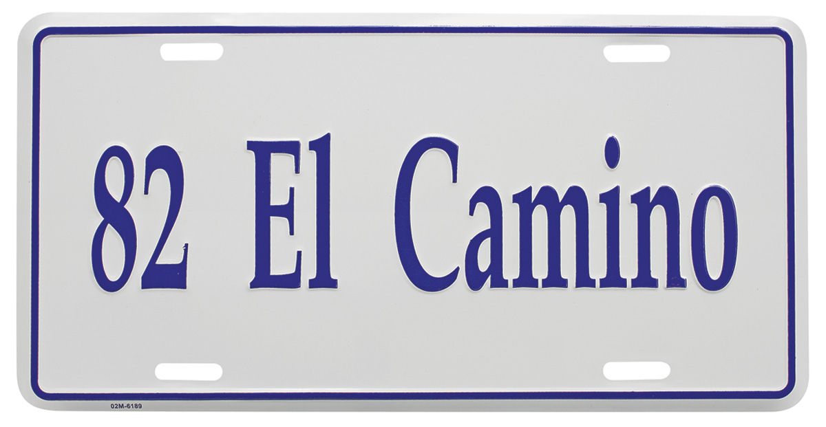 License Plate, Custom, 1982 El Camino