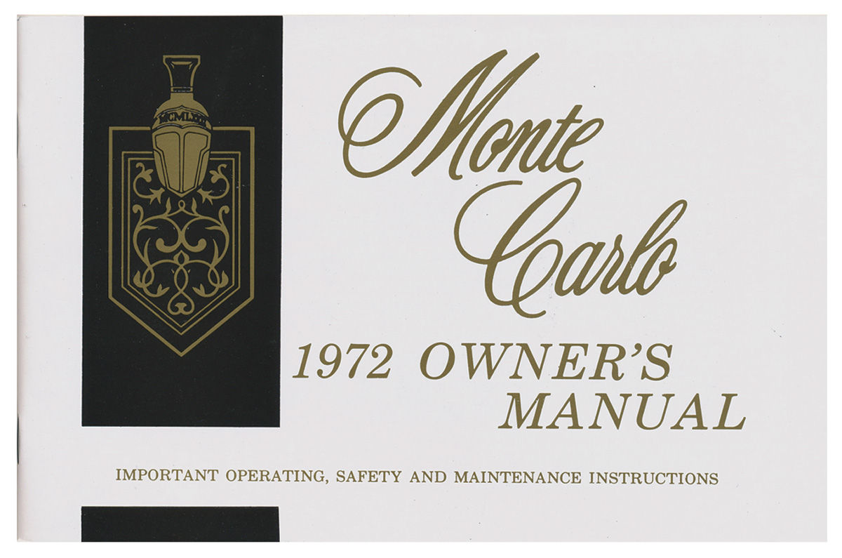 Owners Manual, 1972 Monte Carlo