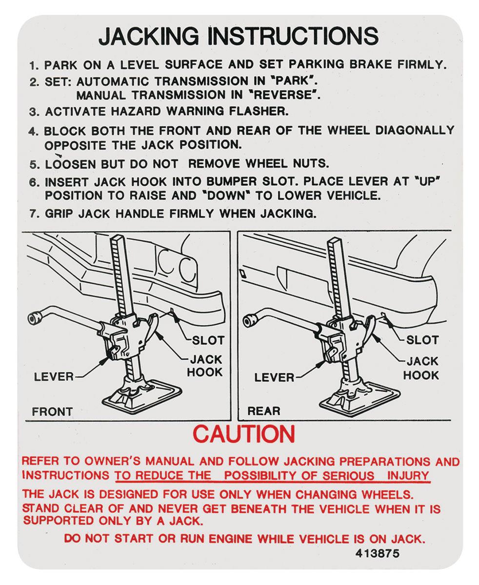 Decal, 1973 Cutlass, Jacking Instructions