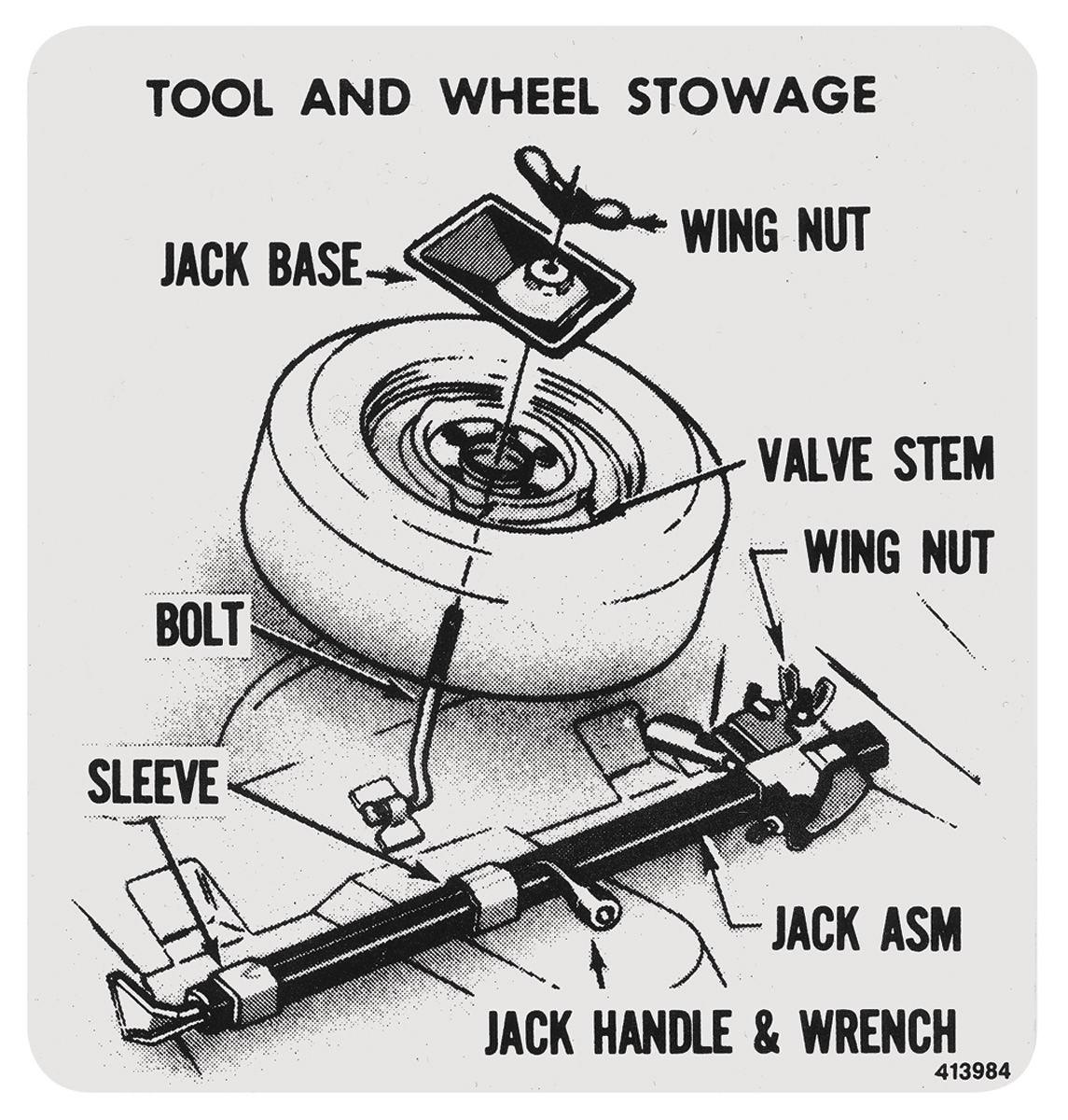 Decal, 1973-77 Cutlass, Tire Stowage w/ Standard Wheels