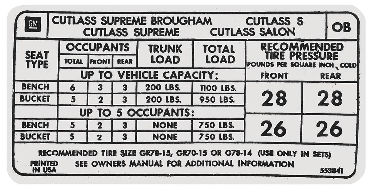 """Decal, 1973 Cutlass, Tire Pressure, """"OB"""""""