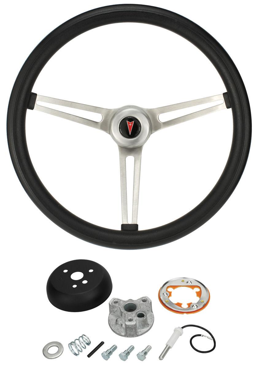 Steering Wheel Kit, Classic Nostalgia, 1965-66 Bonn/Cat/GP, w/ Tilt, Black Foam