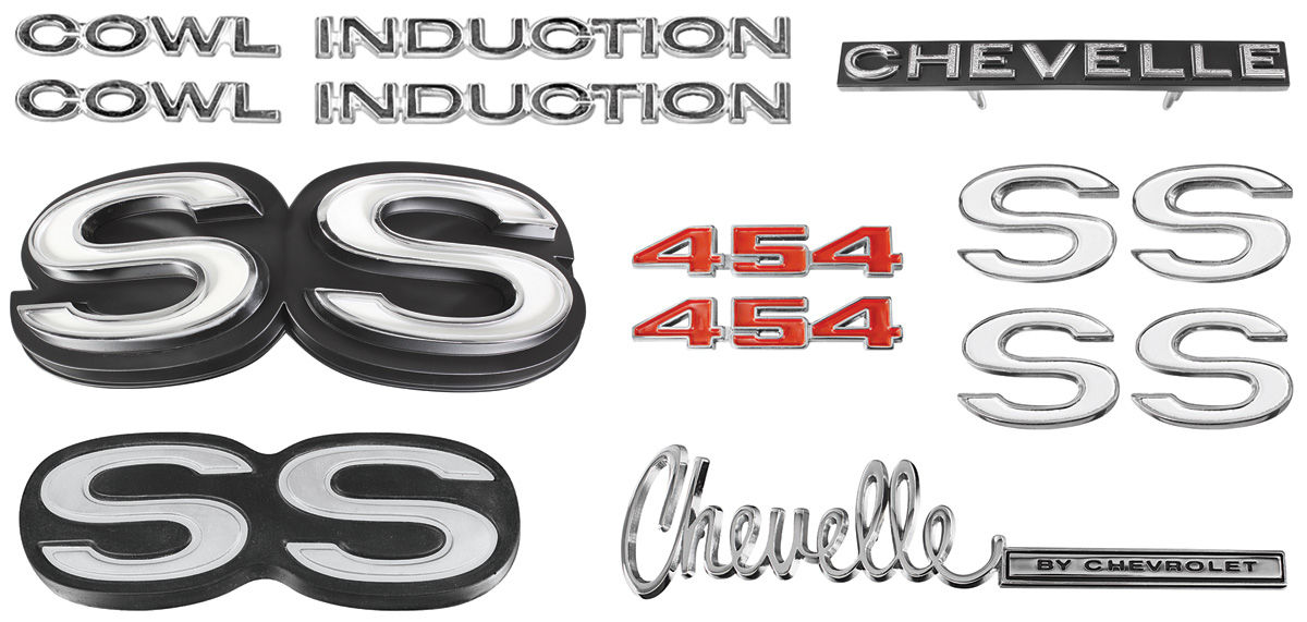 """Emblem Kit, 1972 Chevelle Super Sport (SS) 454 'Cowl Induction"""""""