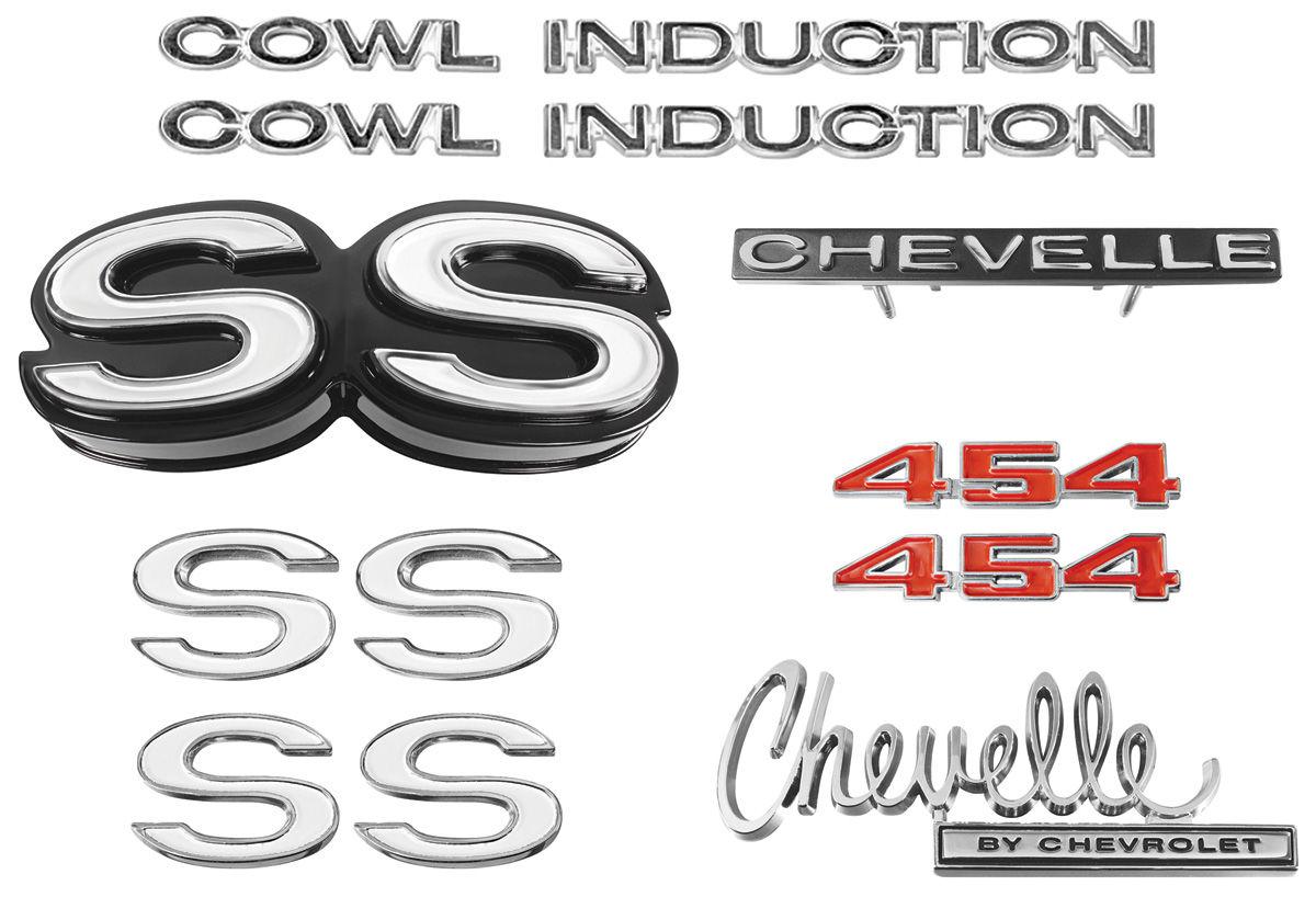 """Emblem Kit, 1970 Chevelle Super Sport (SS) 454 """"Cowl Induction"""""""