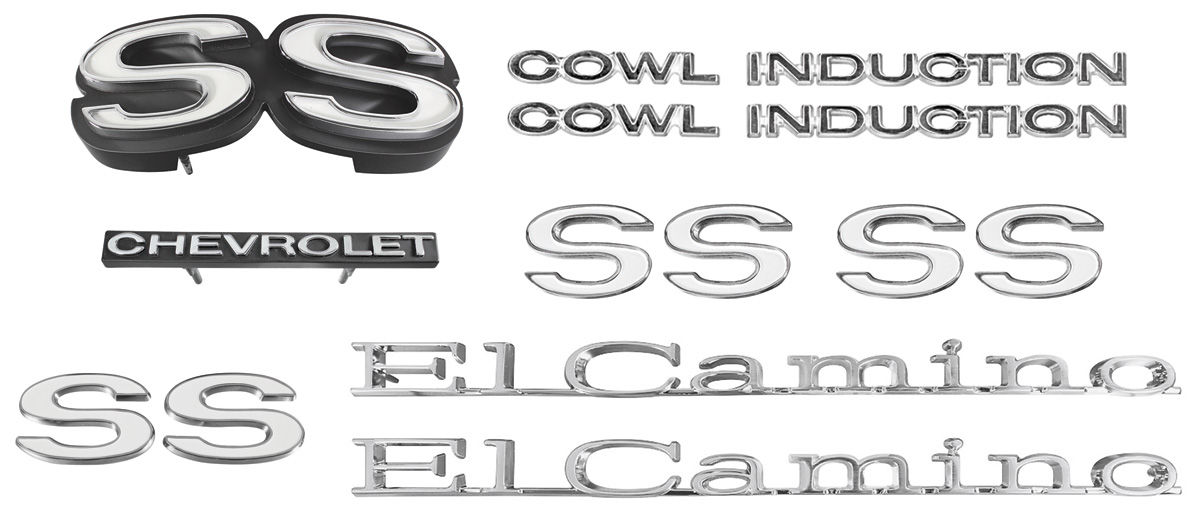 Emblem Kit, 1971 Chevelle Super Sport (SS) 350/396 'Cowl Induction