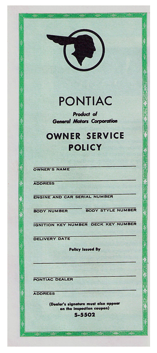 Service Policy, 1959 Bonn/Cat, New Vehicle #S-5502