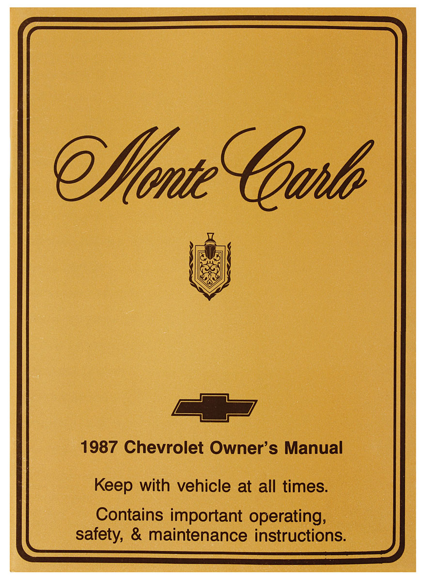 Owners Manual, 1987 Monte Carlo