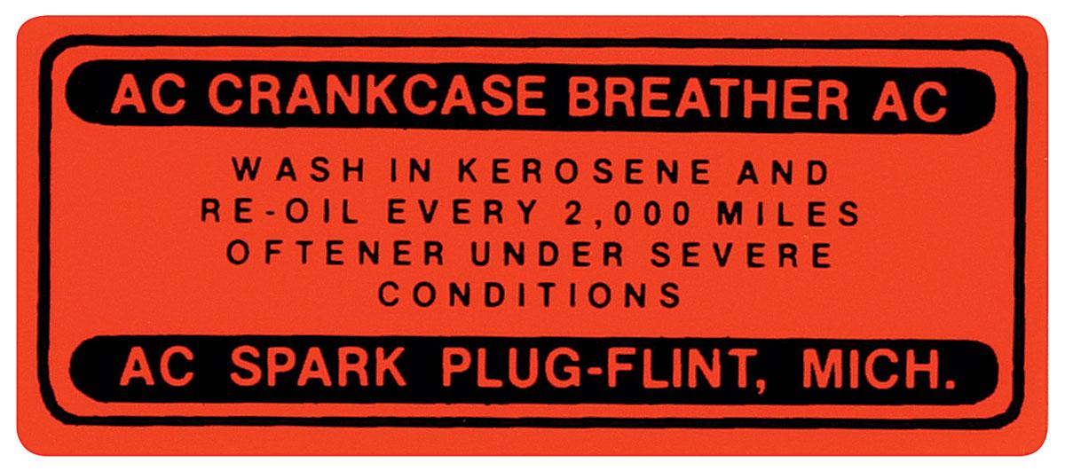 Decal, 1961-62 Skylark/Special, V8 Oil Filler Cap
