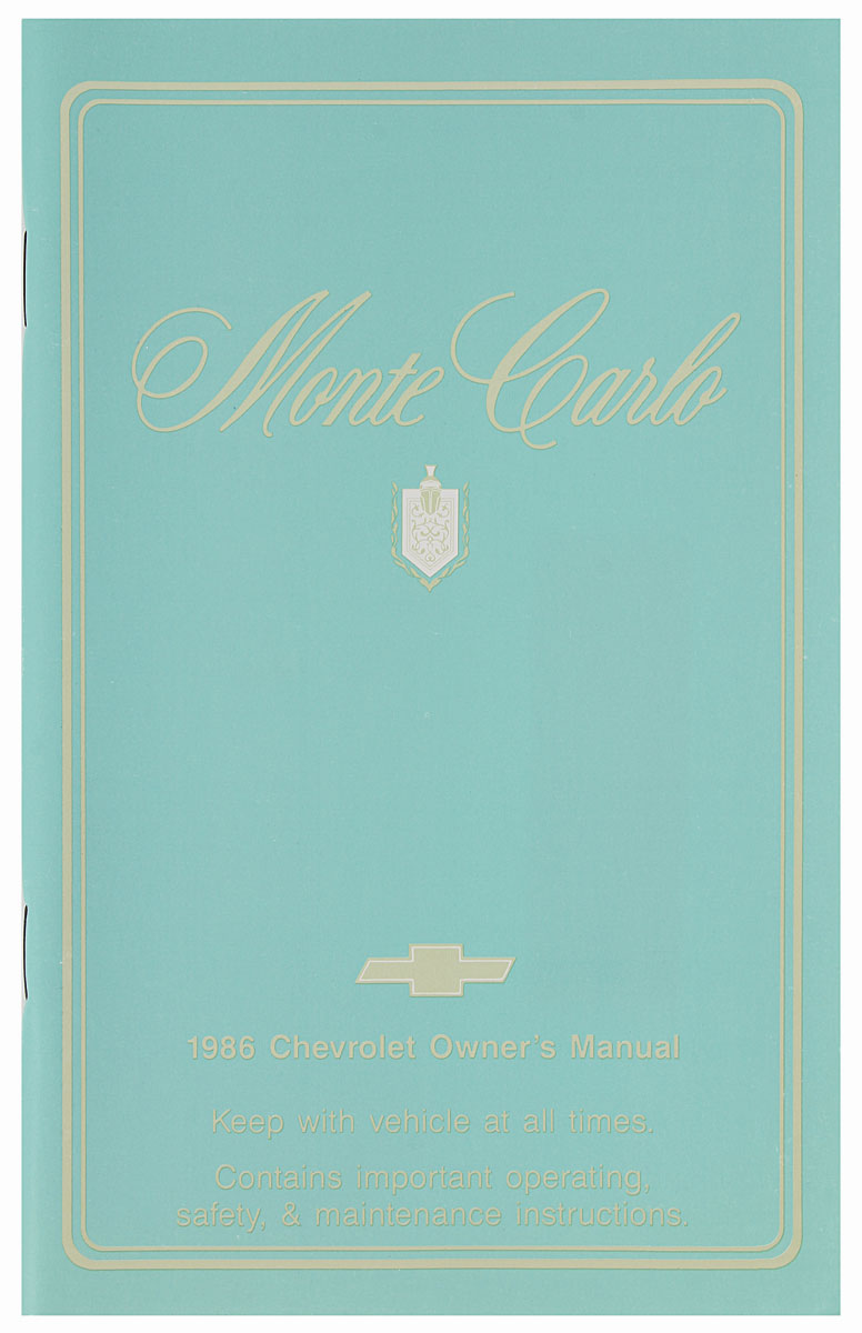 Owners Manual, 1986 Monte Carlo
