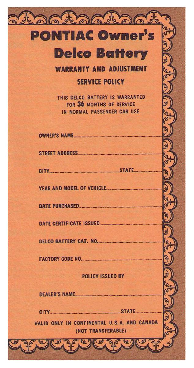 Certificate, 1959-60 Bonn/Cat, Delco Battery, #755