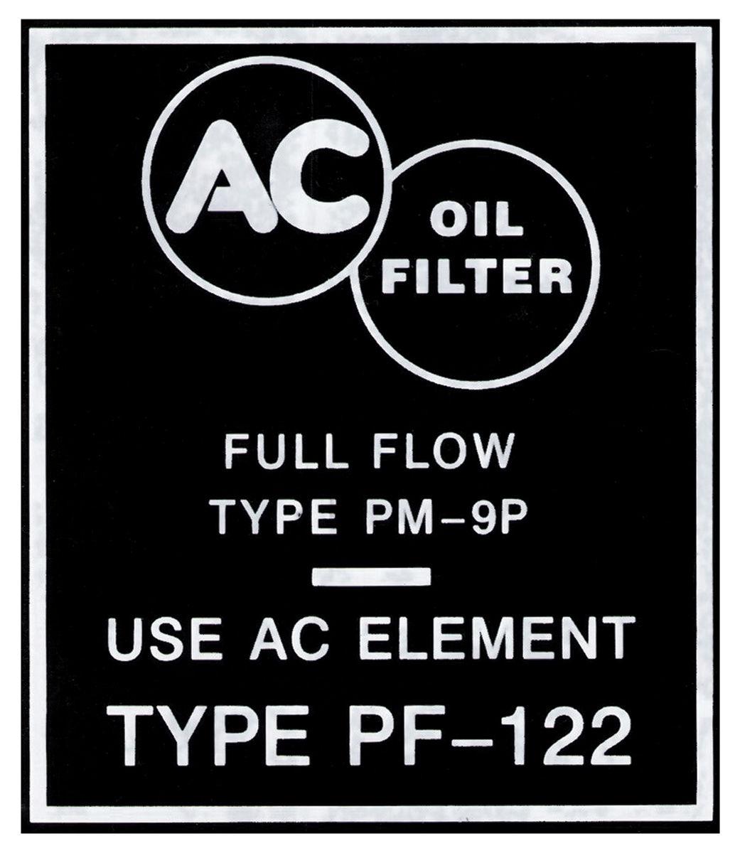 Decal, 1959-60 Bonn/Cat, Oil Filter, PF122