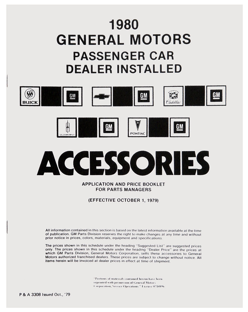 Accessory Price List, 1980 GM, All