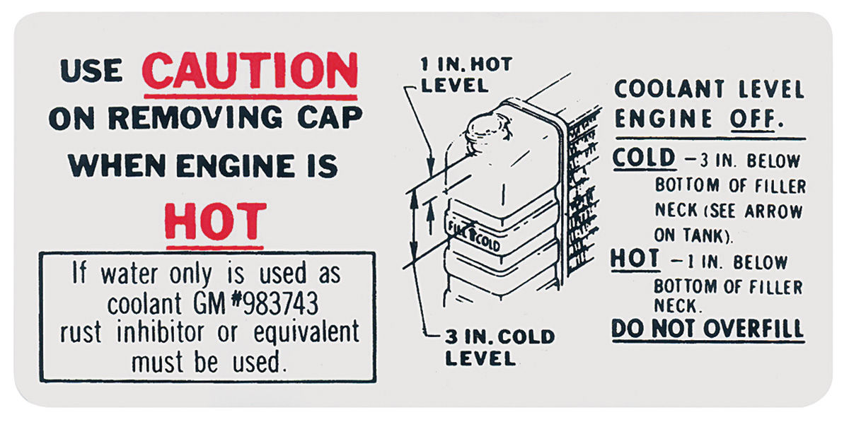 Decal, 65-67 Pontiac, Caution Cooling System