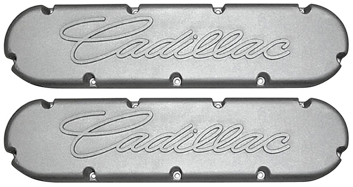 Valve Covers, 368-500 Cadillac, Flat Top, Raised Script