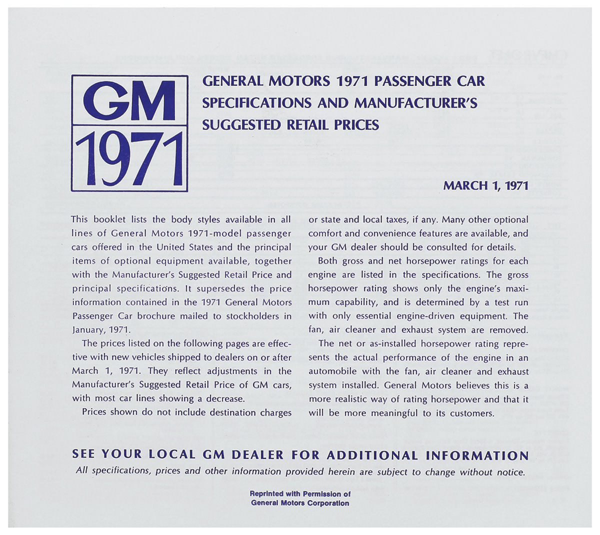 Price List, 1971 GM All, MSRP