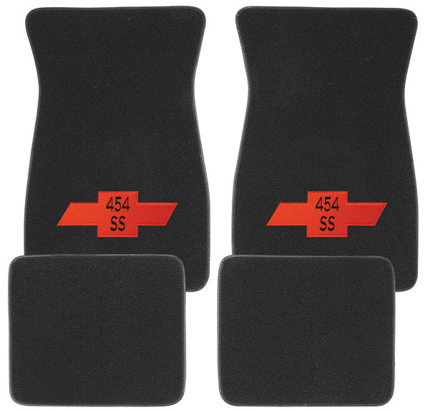 "Floor Mats, Raylon 1964-77 ""454 SS"" w/red Bowtie Logo"