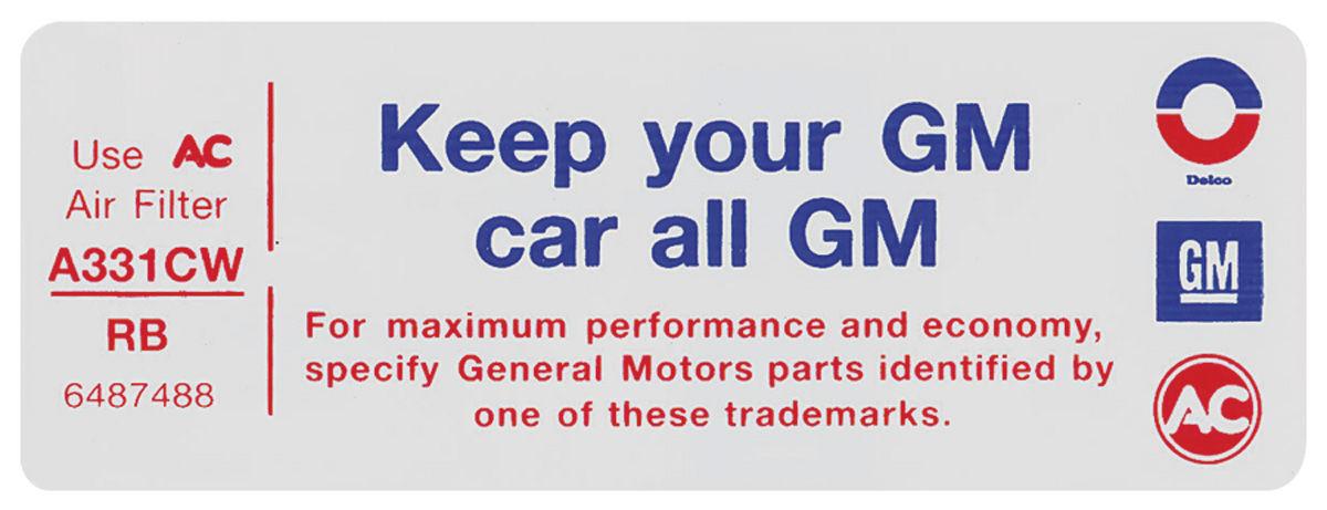 Decal, 72-73 Pontiac, Air Cleaner, V8, 2 Barrel, Keep Your GM Car All GM, RB