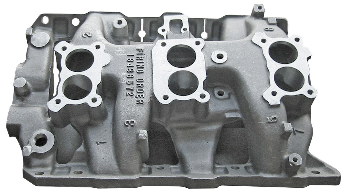 Intake Manifold, 1966 Pontiac, Tri-Power, Cast Iron