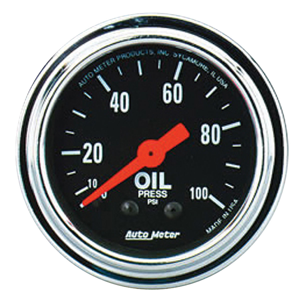 Gauge, Oil Pressure, Auto Meter, Traditional Chrome, 2-1/16
