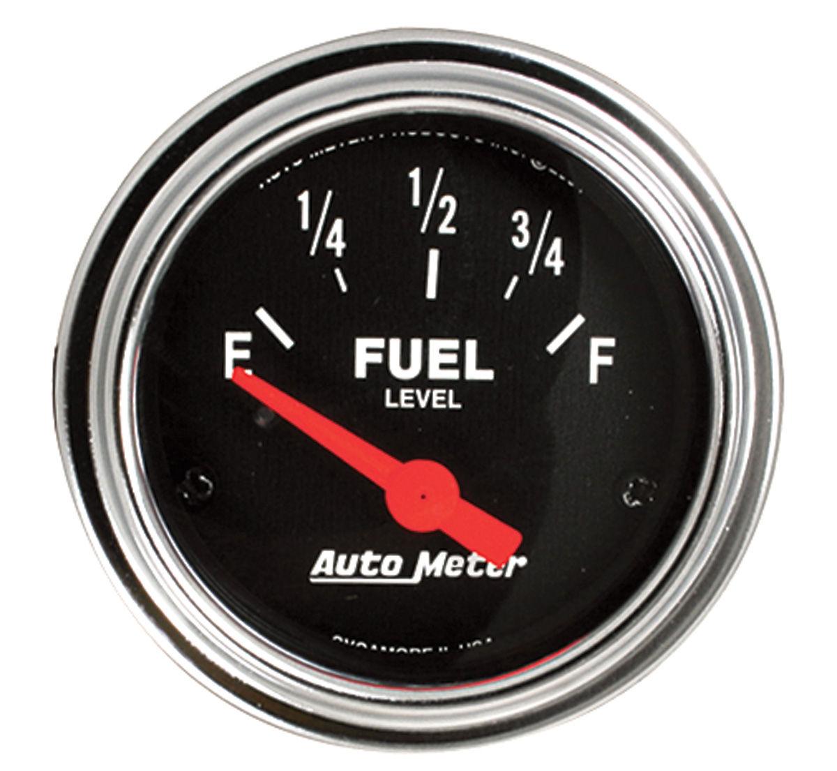 Gauge, Fuel, Auto Meter, Traditional Chrome, 2-1/16