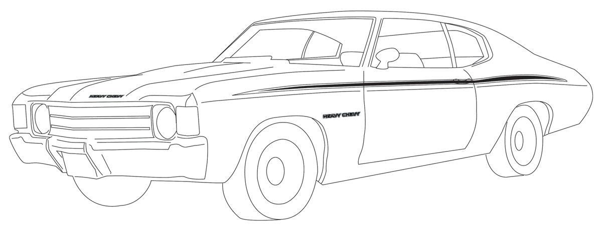 Decal, 71-72 Chevelle, Body Stripe, Heavy Chevy