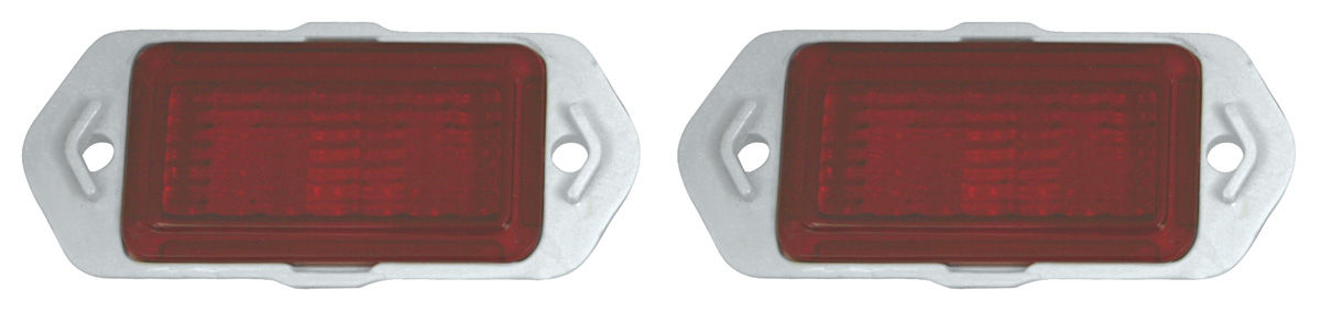 "68-69 Chevy /"" 427 /"" in RED Paint Side Marker Light Lamp Chrome Bezel Trim PAIR"