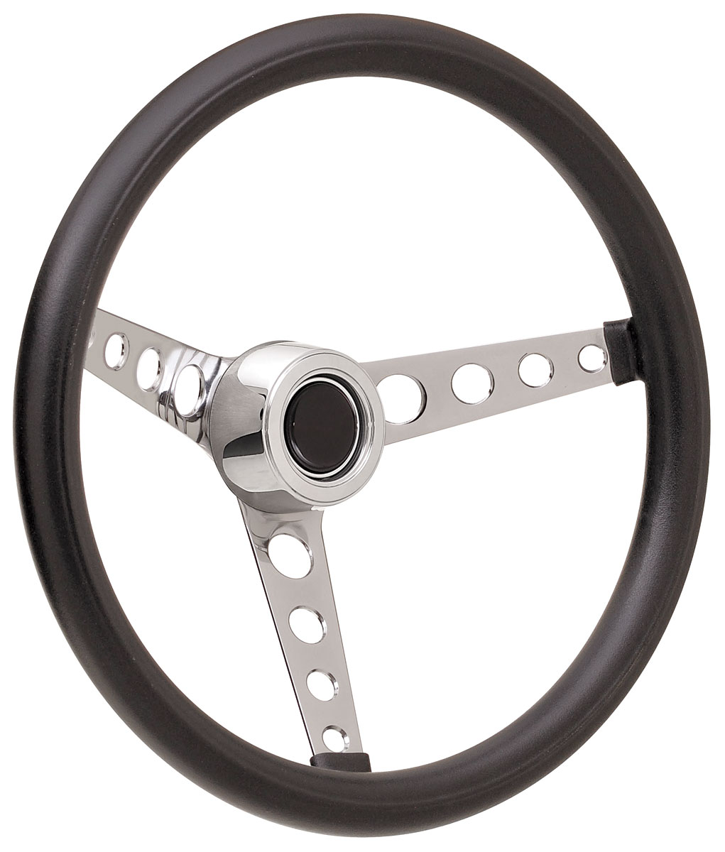 Steering Wheel Kit, 69-89 GM, Classic Foam, Hi Rise Cap, Plain, Black