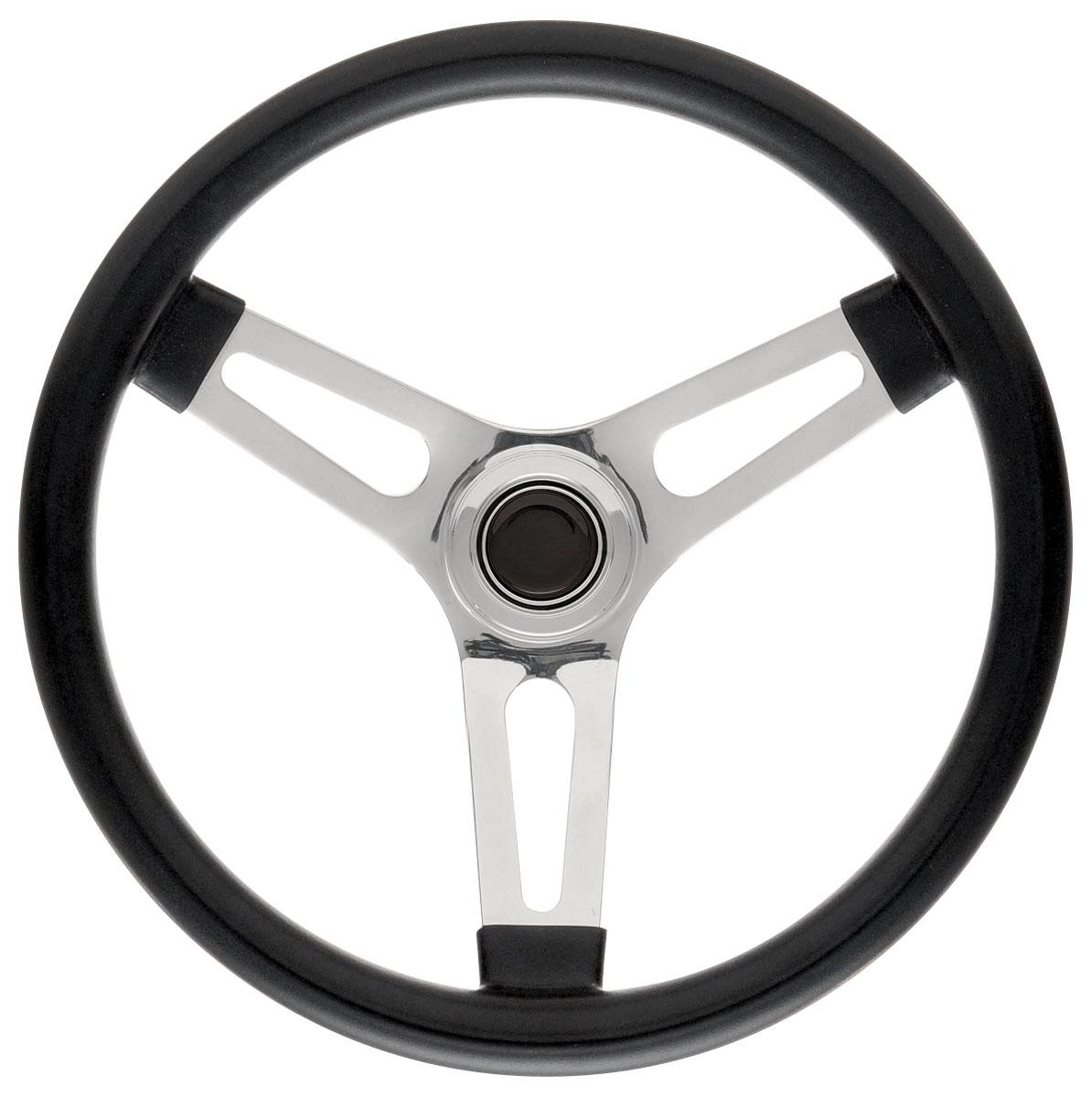 Steering Wheel Kit, 69-89 GM, Symm. Foam, 1.5, Tall Cap, Plain, Black
