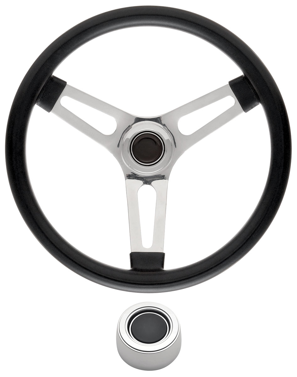 Steering Wheel Kit, 69-89 GM, Symm. Foam, 1.5, Hi Rise Cap, Plain, Black