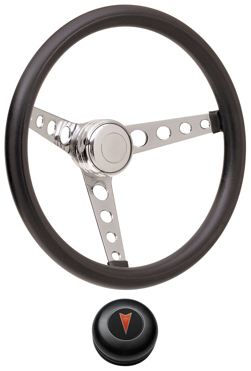 Steering Wheel Kit, 59-68 Pontiac, Classic Foam, Tall Cap, Arrowhead, Black