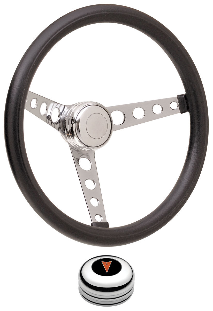 Steering Wheel Kit, 69-77 Pontiac, Classic Foam, Tall Cap, Arrowhead, Polished