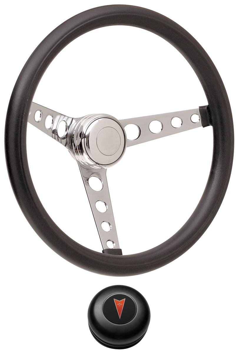 Steering Wheel Kit, 69-77 Pontiac, Classic Foam, Tall Cap, Arrowhead, Black