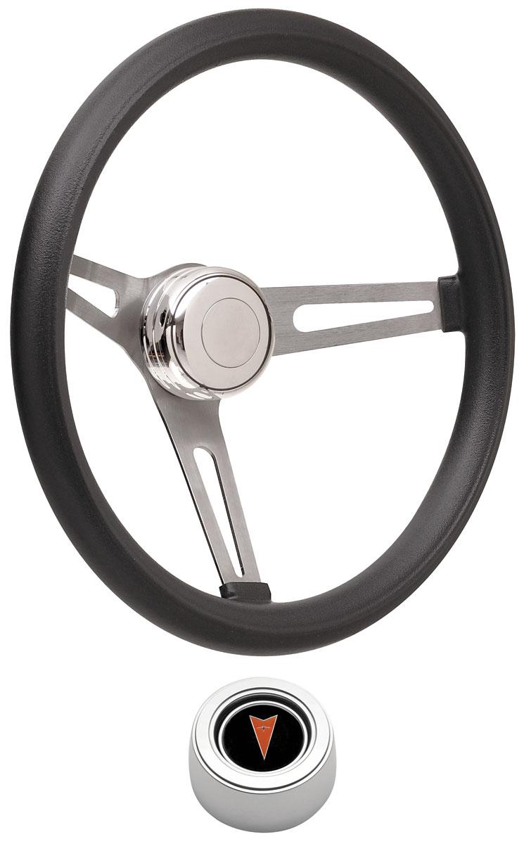 Steering Wheel Kit, 69-77 Pontiac, Retro Foam, Hi Rise Cap, Arrowhead, Polished