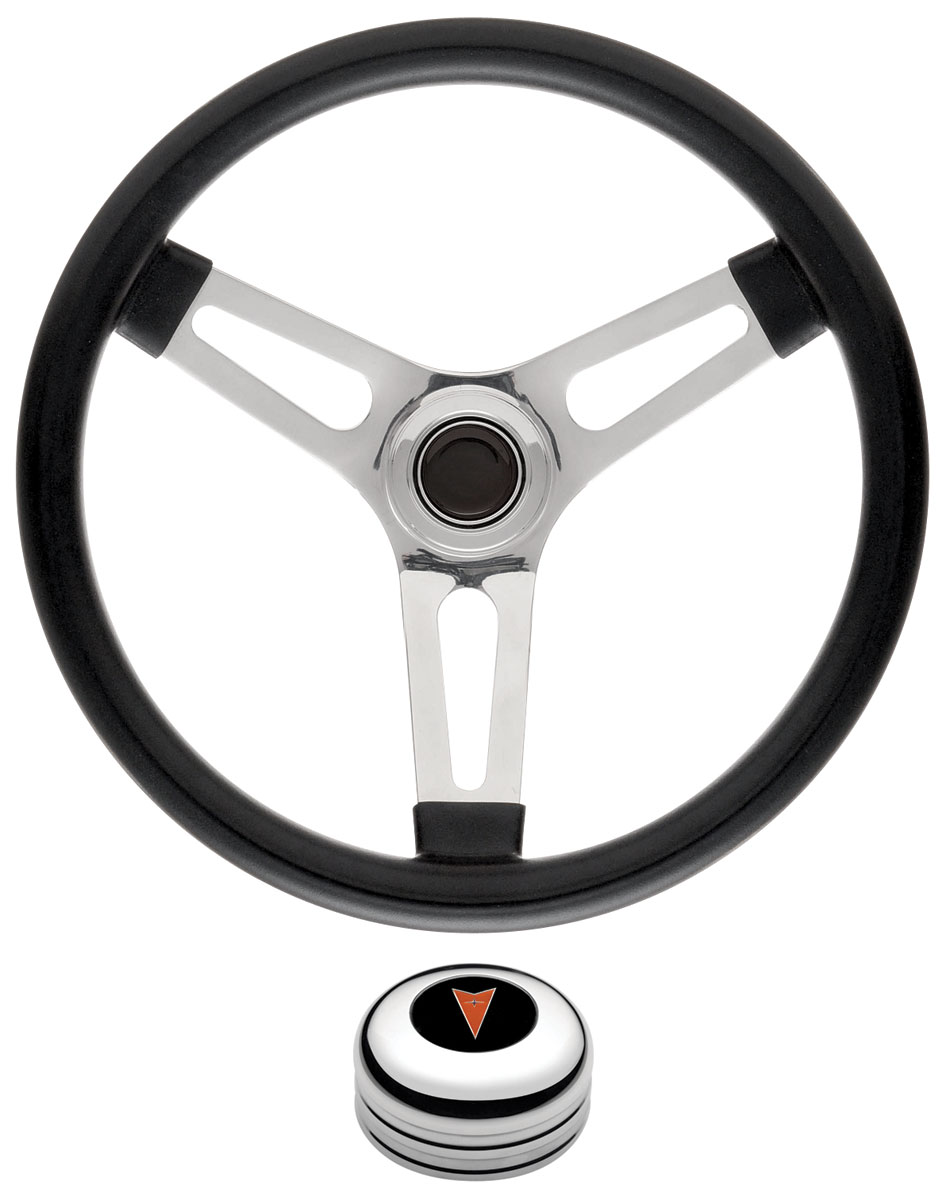 Steering Wheel Kit, 59-68 Pontiac, Sym Foam, 1.5, Tall Cap, Arrowhead, Polish