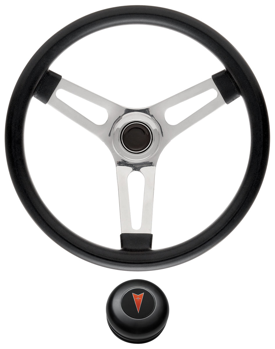 Steering Wheel Kit, 59-68 Pontiac, Symm. Foam, 1.5, Tall Cap, Arrowhead, Black