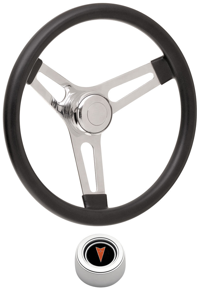 Steering Wheel Kit, 59-68 Pontiac, Sym Foam, 3.25, Hi Rise Cap, Arrwhd, Polished
