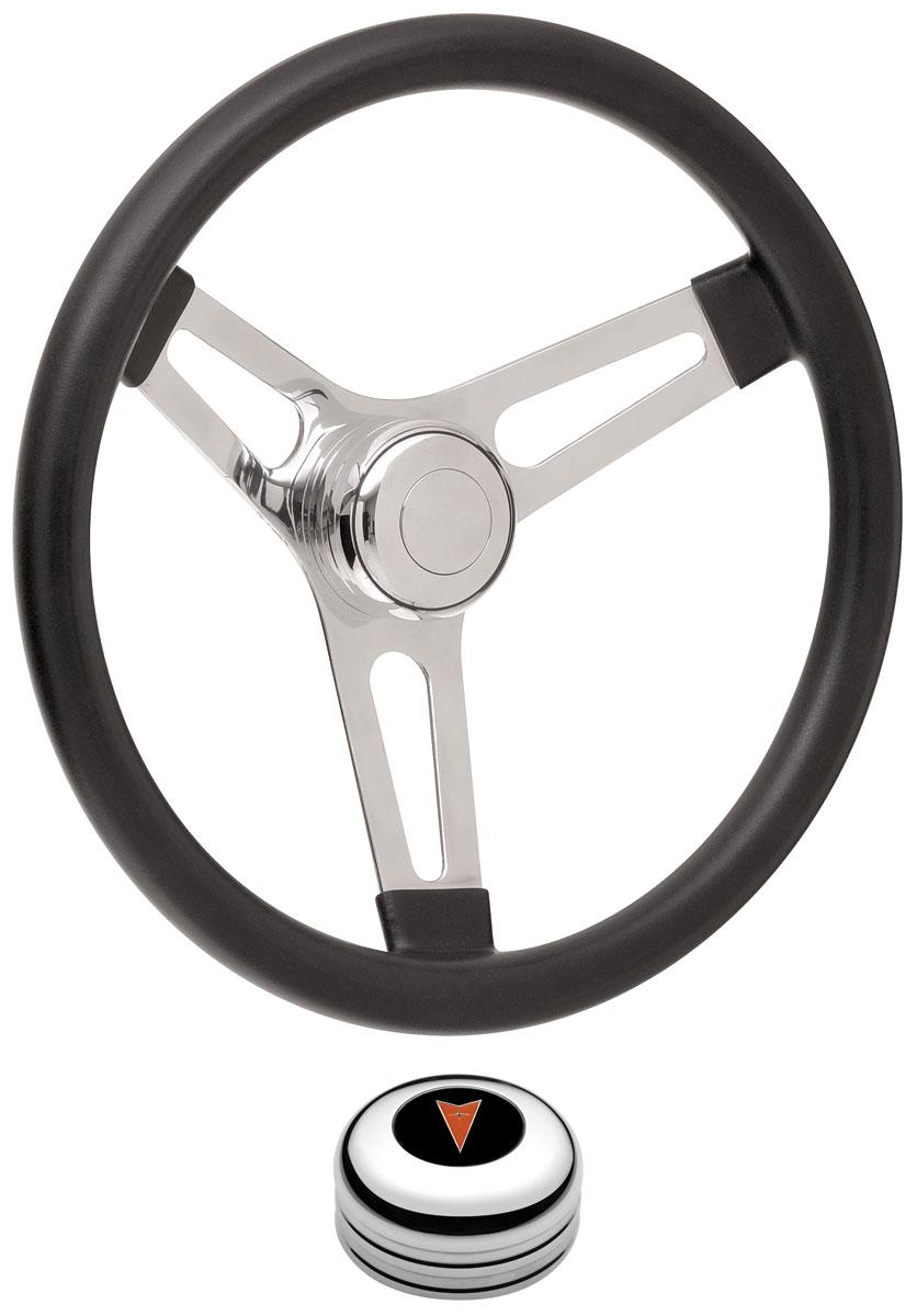 Steering Wheel Kit, 69-77 Pontiac, Sym Foam, 3.25, Tall Cap, Arrowhead, Polished