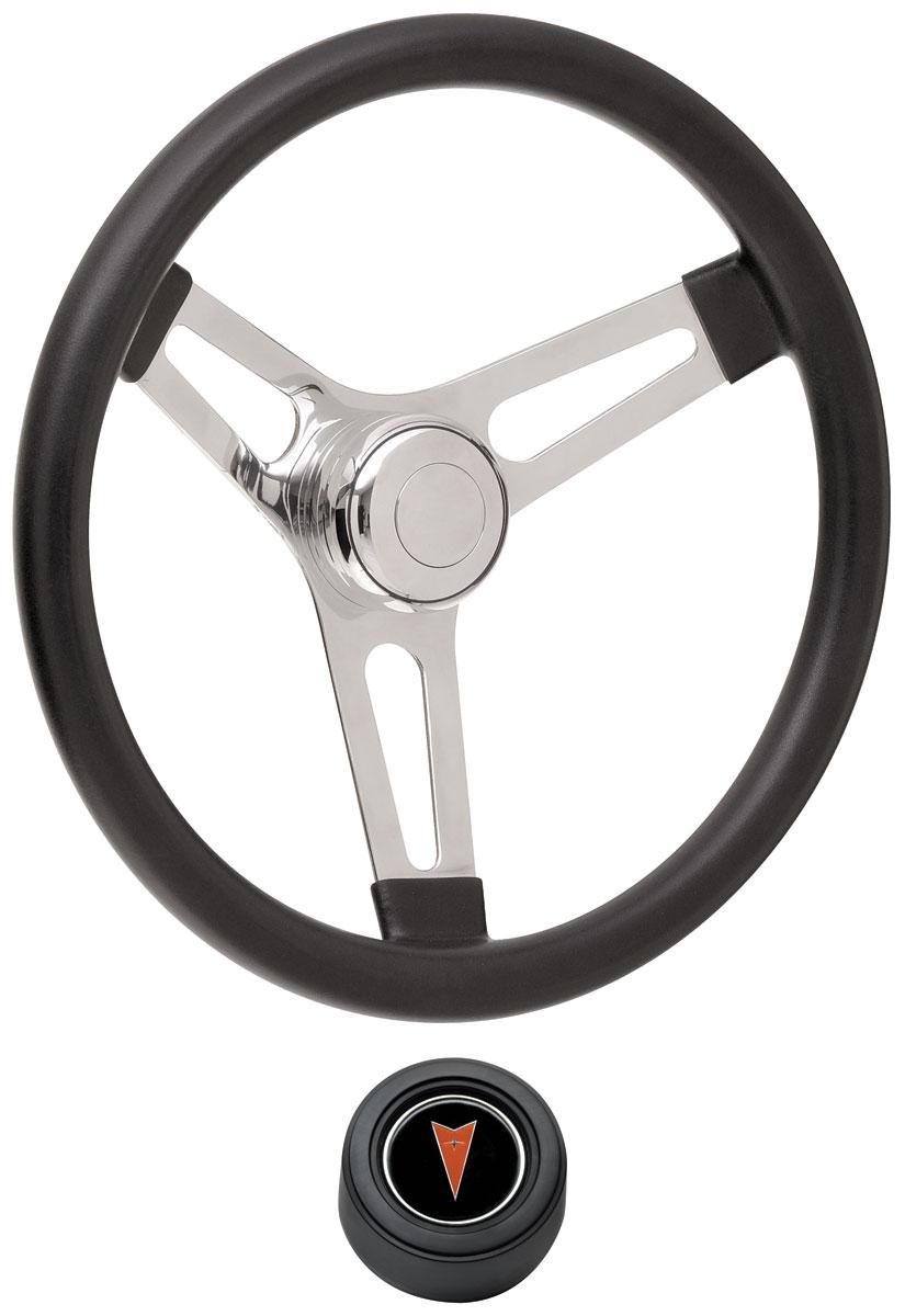 Steering Wheel Kit, 69-77 Pontiac, Sym Foam, 3.25, Hi Rise Cap, Arrowhead, Black
