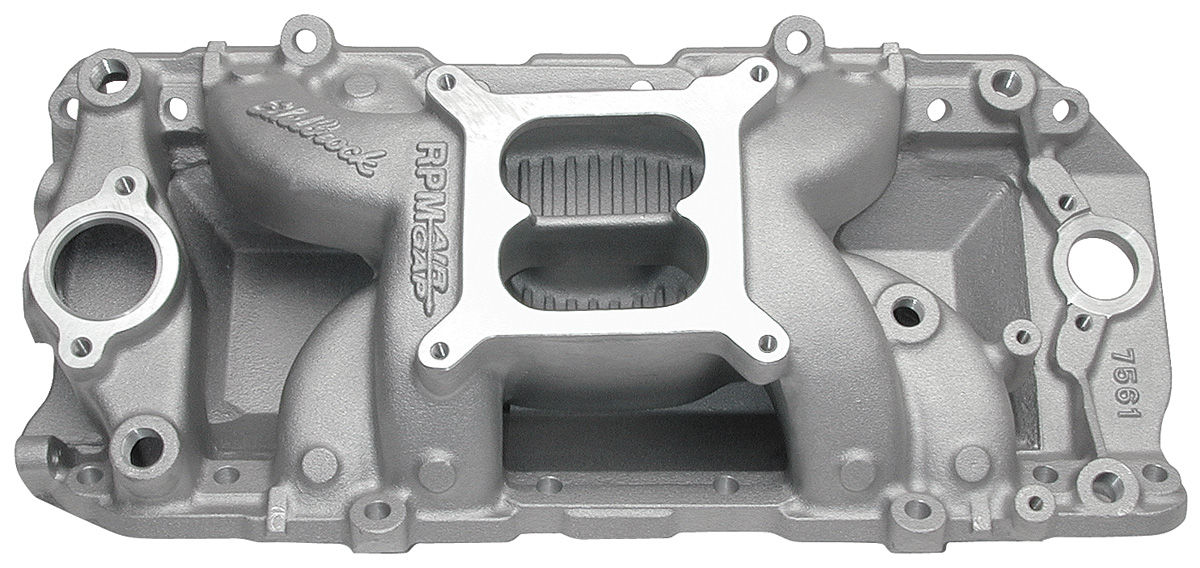 Intake Manifold, RPM Air-Gap, Edelbrock, BB Chevy, Oval/Non-EGR, Satin