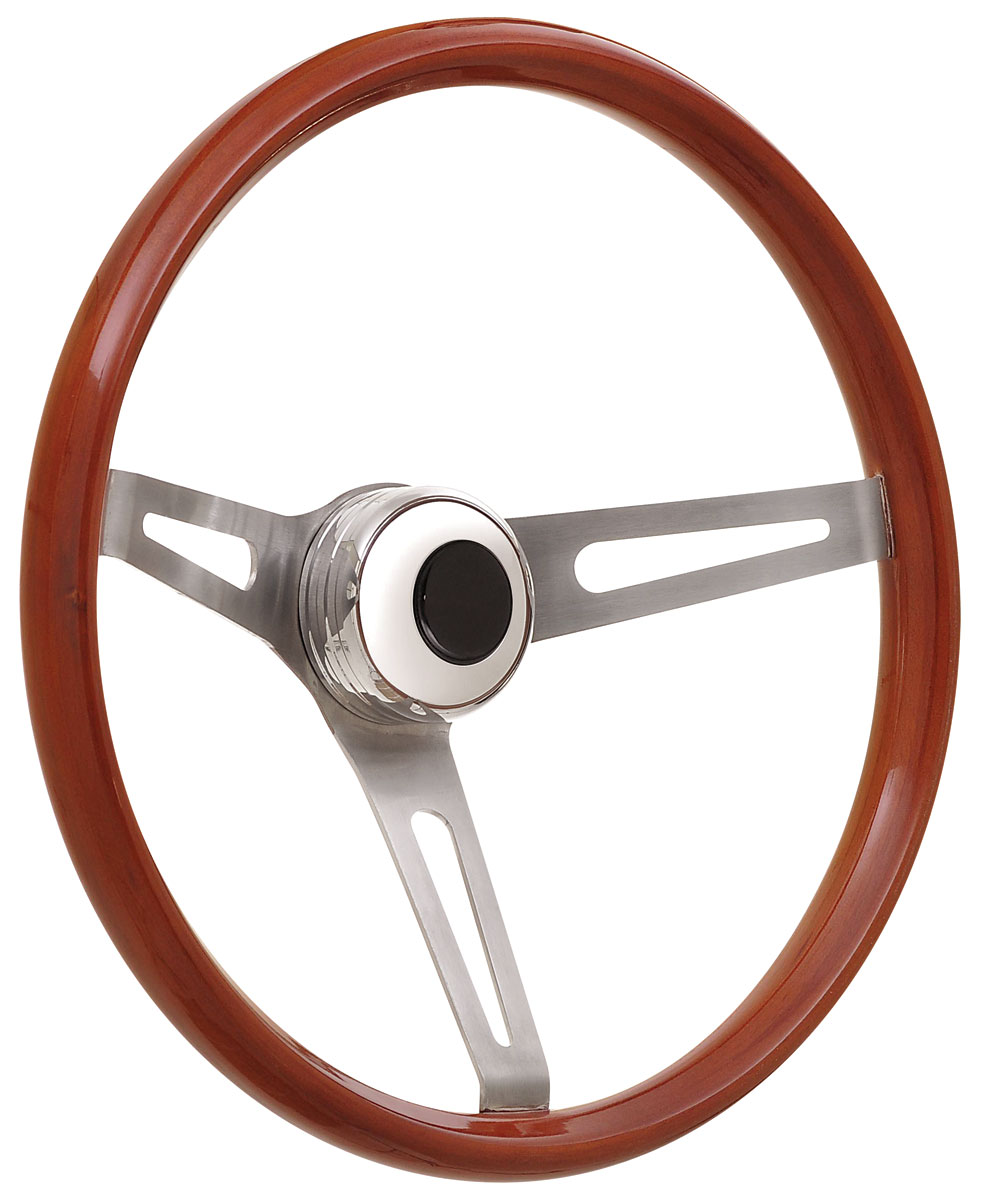 Steering Wheel Kit, 59-68 GM, Retro Wood, Tall Cap, Plain, Black