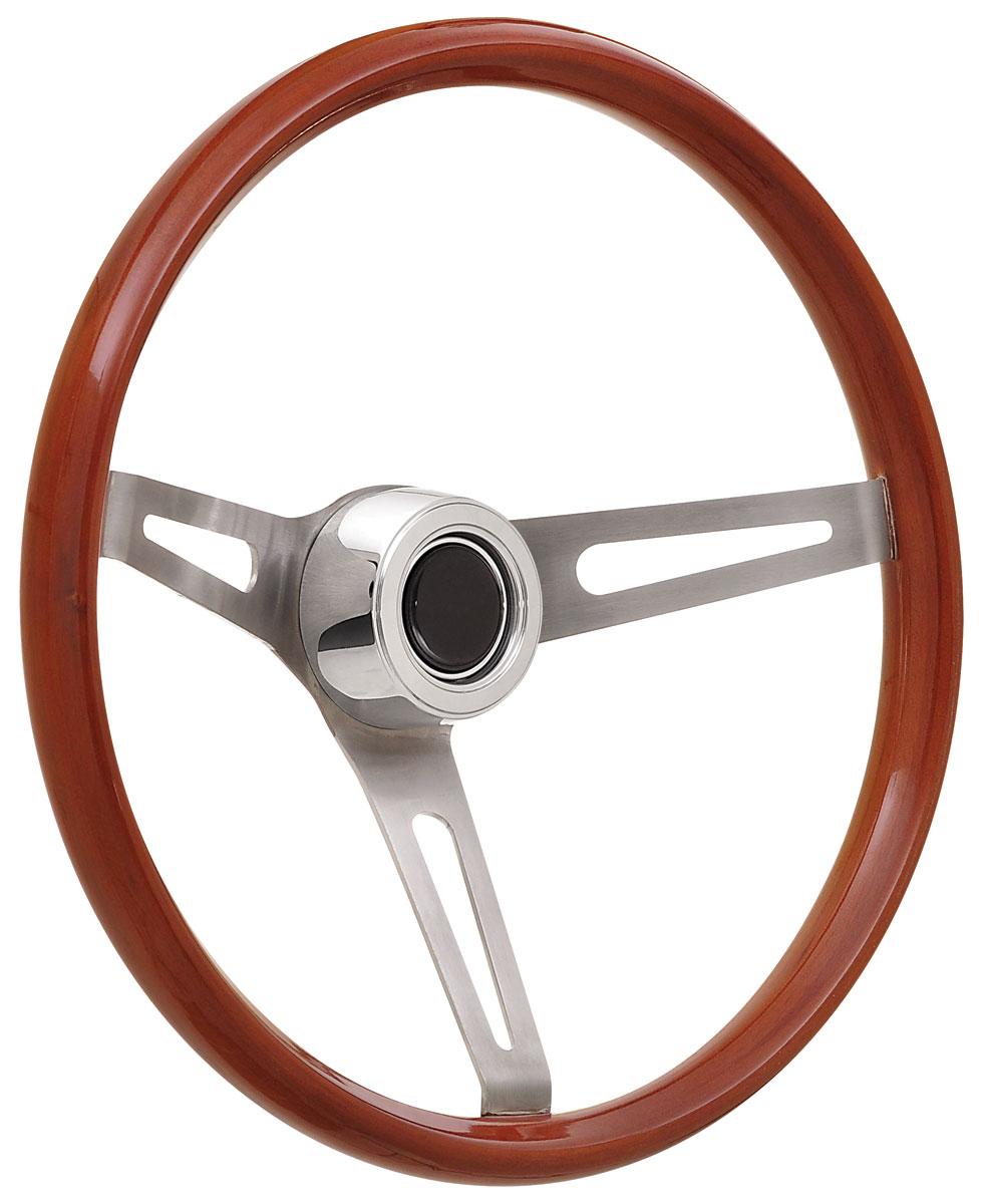 Steering Wheel Kit, 59-68 GM, Retro Wood, Hi Rise Cap, Plain, Black