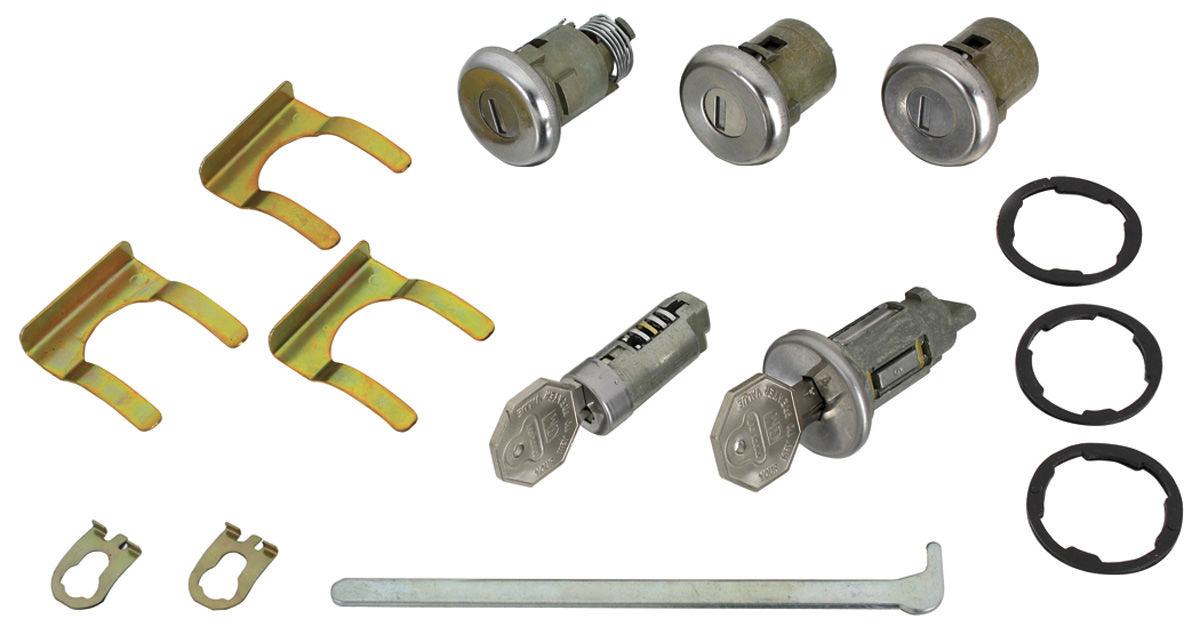 Lock Set, Ignition/Doors/Glove Box/Trunk, 1966 Original Style, w/ Octagon Keys
