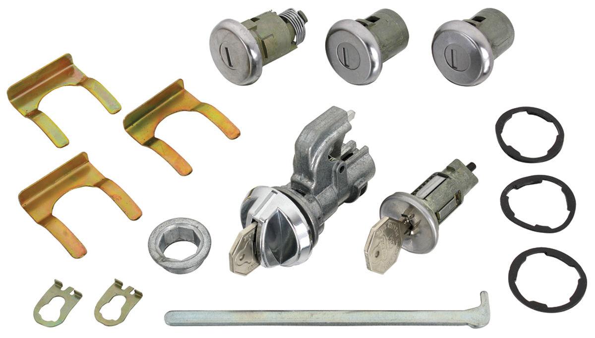 Lock Set, Ignition/Doors/Glove Box/Trunk, 1968 Original Style, w/ Octagon Keys