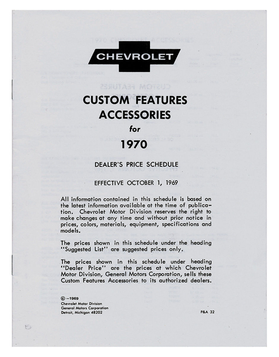 Accessory Listing, 1970 Chevrolet