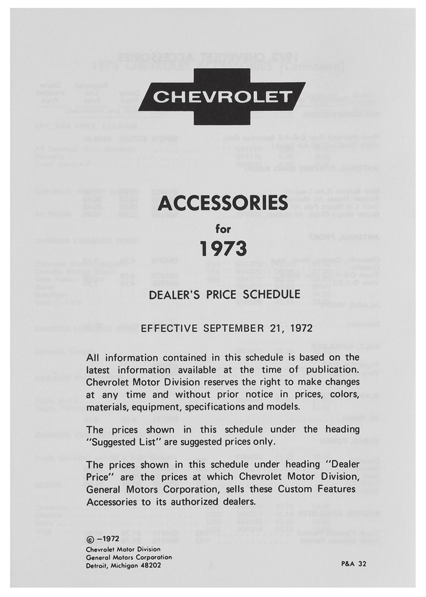 Accessory Listing, 1973 Chevrolet
