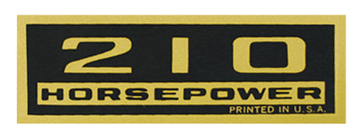 Decal, Chevelle/El Camino/Monte Carlo, Valve Cover, 210HP, Black/Gold