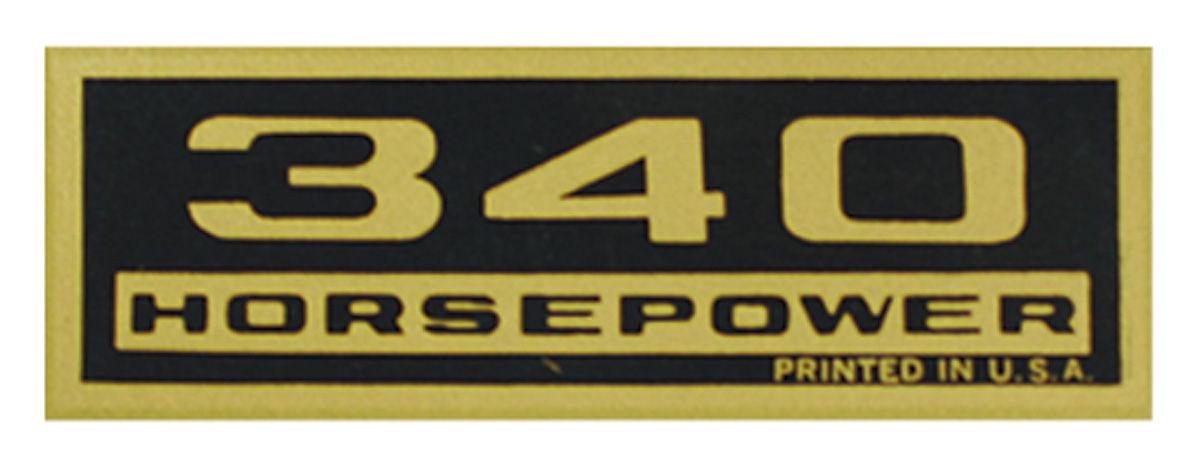 Decal, Chevelle/El Camino/Monte Carlo, Valve Cover, 340HP, Black/Gold