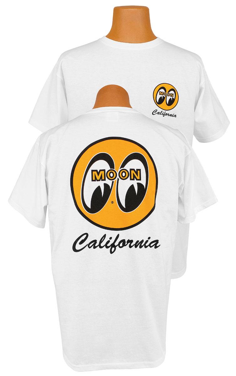 Shirt, Moon, White w/ Mooneyes California Logo