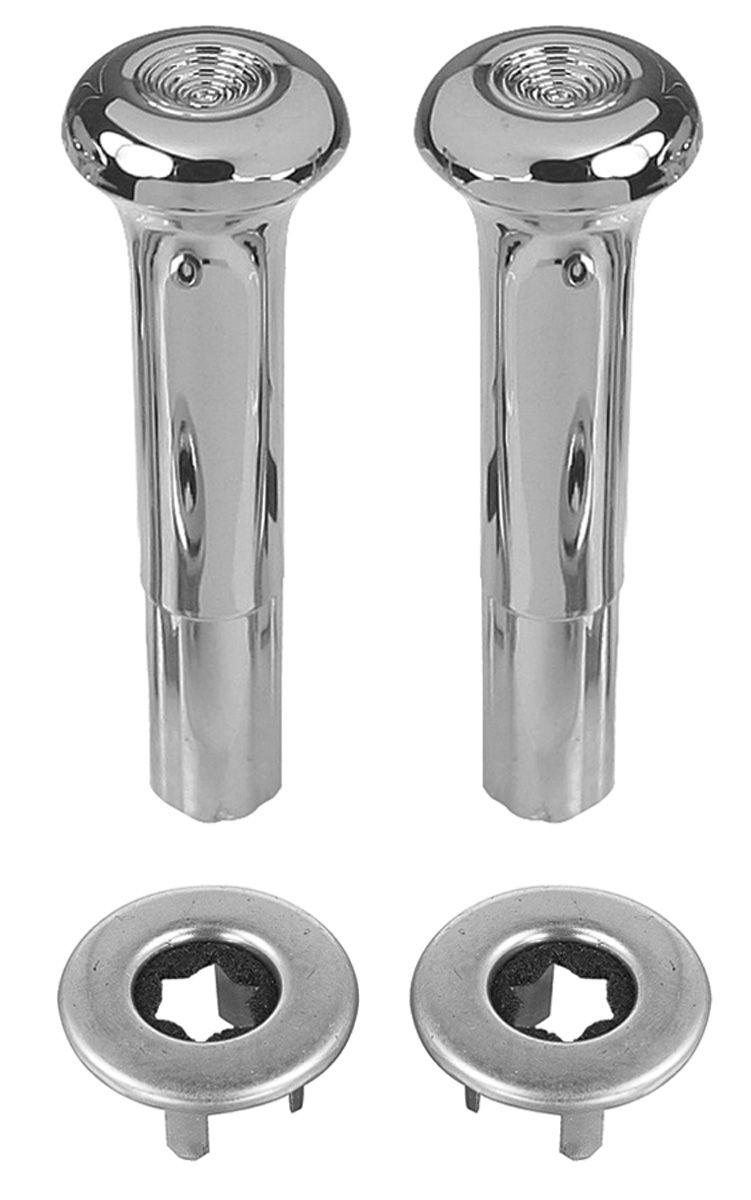 Knob, Ferrule Door Lock (Smooth) Kit 1968-88, Chrome